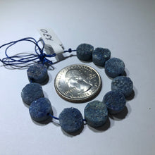 Load image into Gallery viewer, Sea Blue Druzy Round Agate Stones, Flat Round