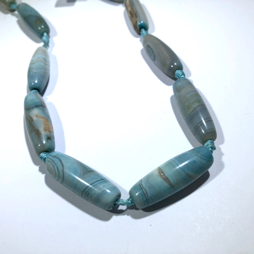 Sky Blue Oval Tube Natural Agate Strand, 14