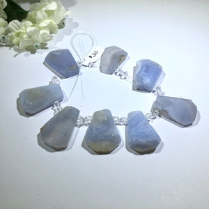 Large Natural Blue Lace Agate Stones, Faceted
