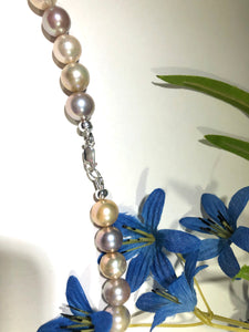 Cherry Blossom Agate and Pastel Freshwater Pearl Necklace