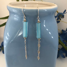 Load image into Gallery viewer, Light Blue Cylinder Murano Glass Earrings, Long Dangle