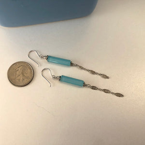 Light Blue Cylinder Murano Glass Earrings, Long Dangle