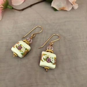Square White Murano Glass, Wedding Cake Earrings, Italian Glass