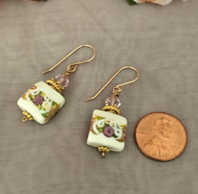 Load image into Gallery viewer, Square White Murano Glass, Wedding Cake Earrings, Italian Glass