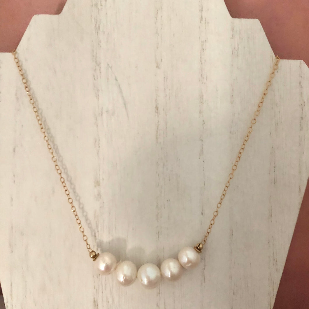 Large White Round Freshwater Pearl Necklace, Simple Graduated Pearl Necklace
