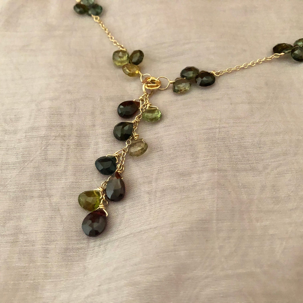 Handcrafted Tourmaline Drop Necklace, Dark Green and Black Tourmaline