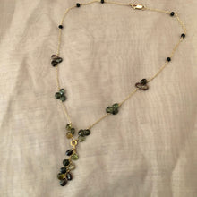 Load image into Gallery viewer, Handcrafted Tourmaline Drop Necklace, Dark Green and Black Tourmaline