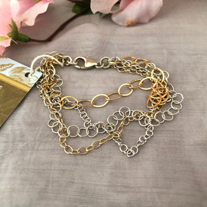 Mixed Metal, 4-Strand Sterling Silver and 14K Gold Fill Bracelet