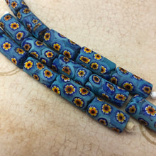 Load image into Gallery viewer, Blue Italian Millefiori Tube Beads