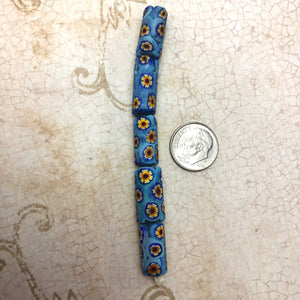 Blue Italian Millefiori Tube Beads