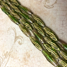 "Load image into Gallery viewer, Czech Green and Gold ""Corn Cob"" Beads"