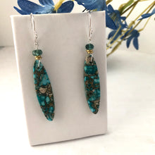 Load image into Gallery viewer, Long Caribbean Blue and Gold Jasper Earrings, Aqua-Color Tourmaline