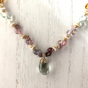 Green Amethyst Multi Gemstone Statement Necklace