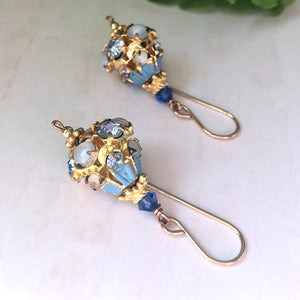 Vintage Austrian Blue Crystal Earrings