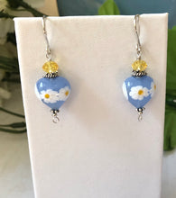 Load image into Gallery viewer, Blue and Yellow Heart Shape Murano Glass Earrings with Swarovski Crystals