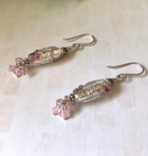Load image into Gallery viewer, Silver Czech Lampwork Foil Flower Dangle Earrings with Swarovski Crystals