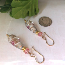 Load image into Gallery viewer, Czech Flower Lampwork Drop Earrings with Swarovski Crystals