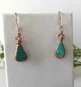 Faux Turquoise and Gold Earrings, Pink Topaz
