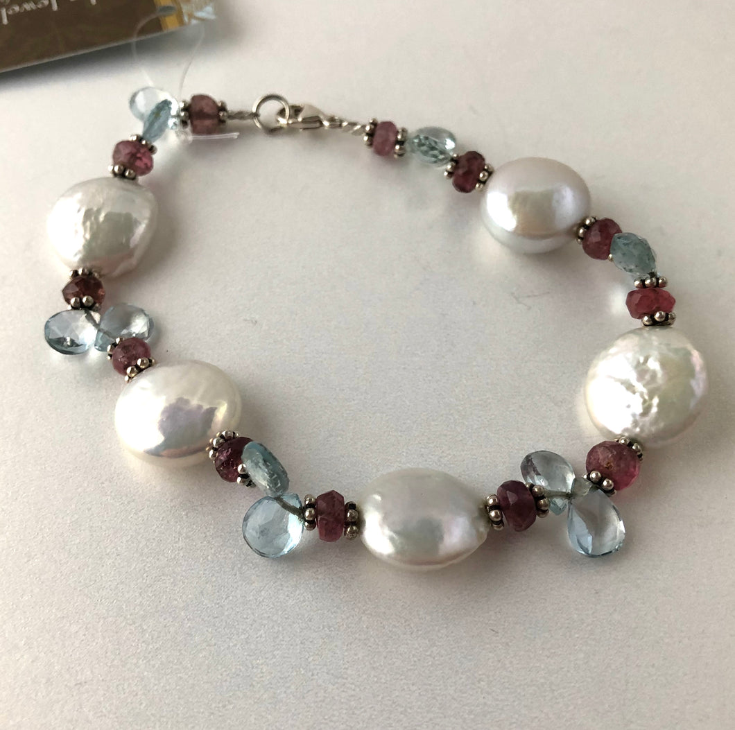 White Coin Pearl Bracelet with Tourmaline and Swiss Blue Topaz