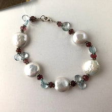 Load image into Gallery viewer, White Coin Pearl Bracelet with Tourmaline and Swiss Blue Topaz