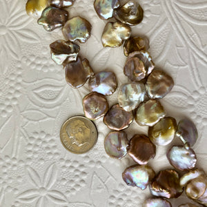 Champagne Top-Drilled Paddle Pearls, Fantasy Pearls, 12MM