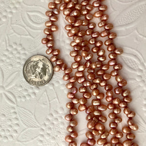 Small Copper-Color Top-Drilled Freshwater Pearls, 4MM
