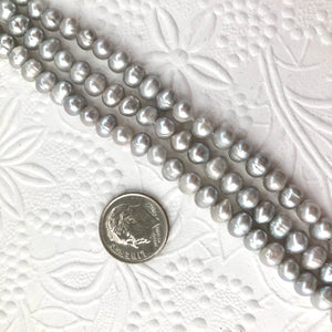 Light Gray Potato Freshwater Pearls, 7MM