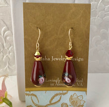 Load image into Gallery viewer, Czech Maroon Lampwork Drop Earrings with Swarovski Crystals
