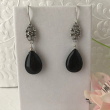Load image into Gallery viewer, Black Agate Dangle Earrings
