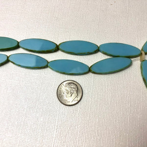 Light Blue Long Oval Beads, Czech Glass 30MM