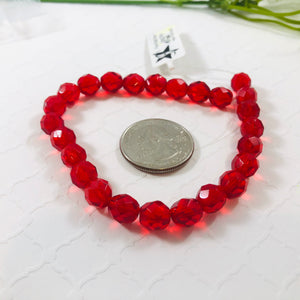 Bright Red, Czech Fire Polished, 8MM