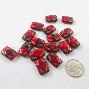 Red and Black Picasso Rectangle Glass Beads, 15MM
