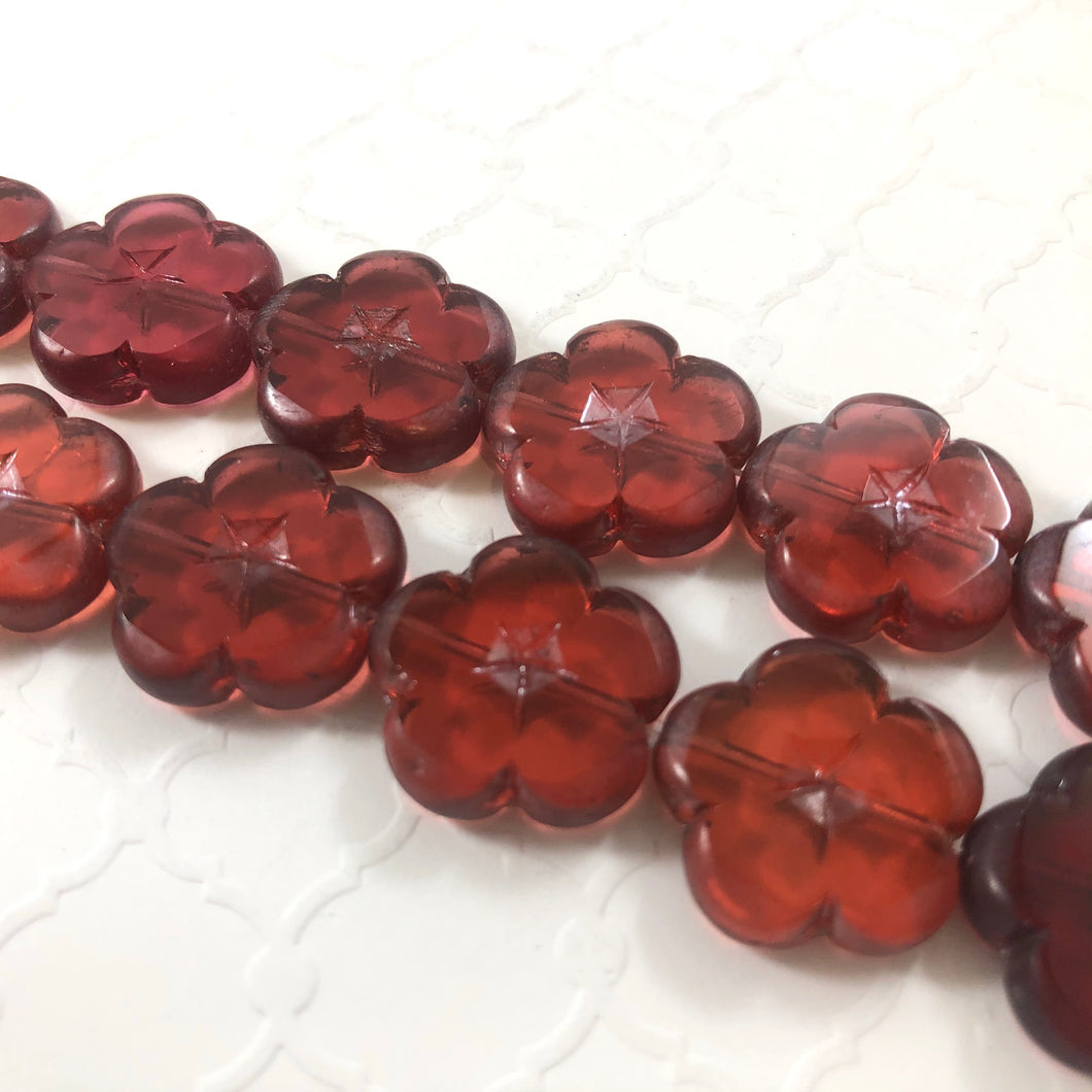Etched Cranberry Red Glass Flower Bead, Czech 25MM