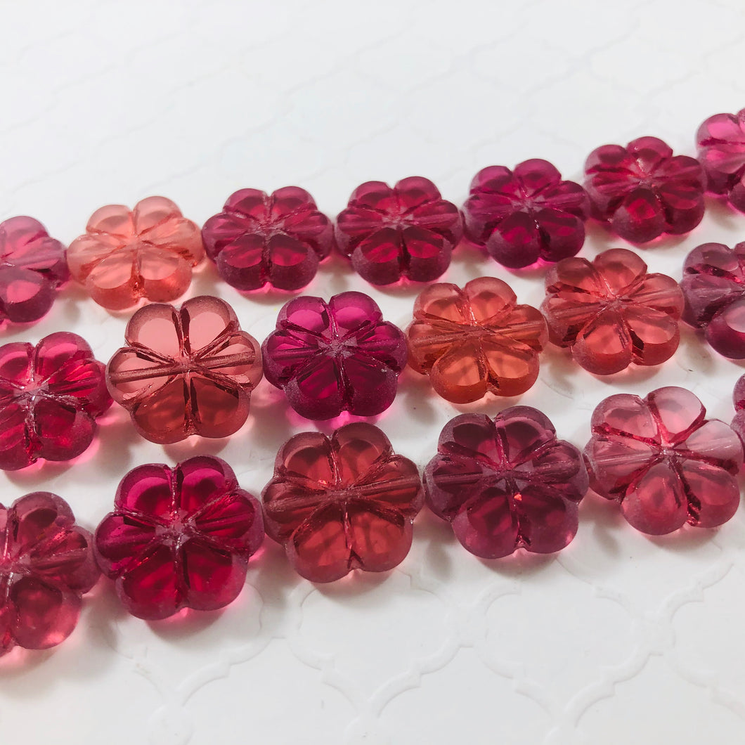 Etched Cranberry Glass Flower Bead, Czech 16MM