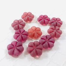 Load image into Gallery viewer, Etched Cranberry Glass Puffed Flower Beads, Czech 15MM