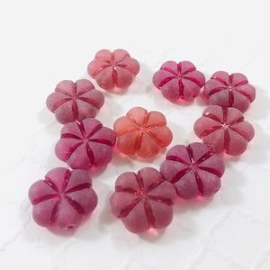 Etched Cranberry Glass Puffed Flower Beads, Czech 15MM