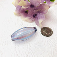 Load image into Gallery viewer, Light Purple and Blue Striped Oval Blown Bead, 35MM
