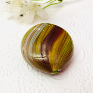 Murano Glass Opaque Blown Focal Bead, Mustard, Green, 40MM