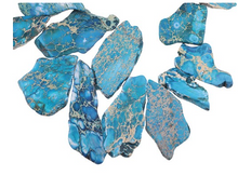 "Load image into Gallery viewer, Pacific Blue Impression Jasper 16x30-35x55 Top Drilled Slab 16"" (Dyed)"