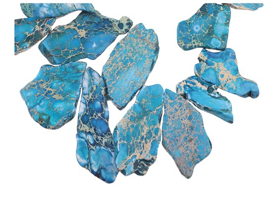 Pacific Blue Impression Jasper 16x30-35x55 Top Drilled Slab 16