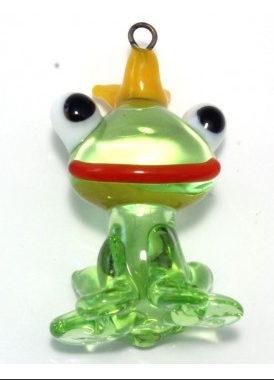 Czech Lampwork Bead Toad with Crown Bead