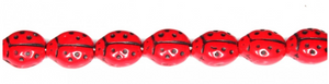 Red and Black Lady Bug Beads, Czech 9MM