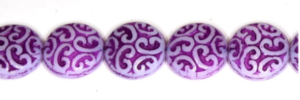 Czech Glass Pressed Puffed Coin Beads Purple/White
