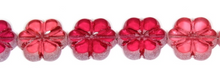 Load image into Gallery viewer, Etched Cranberry Glass Flower Bead, Czech 16MM