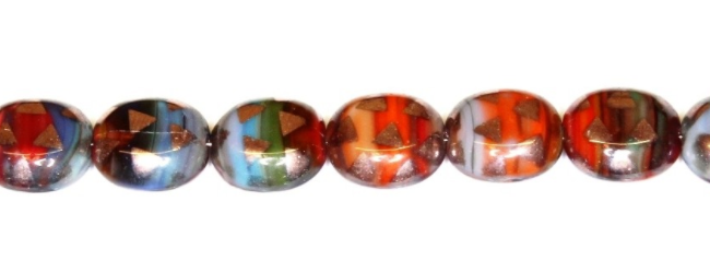 Czech Glass Rainbow Table Cut Oval Beads