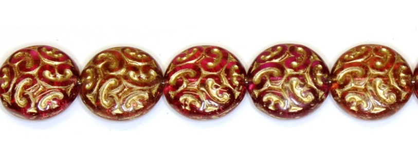 Czech Glass Peach Gold Coin Beads 12MM