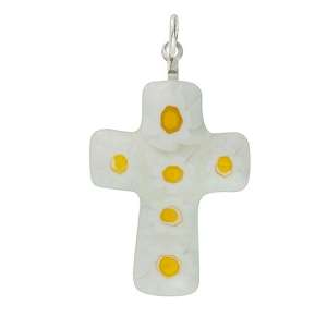 White Daisy Millefiori Mini Cross