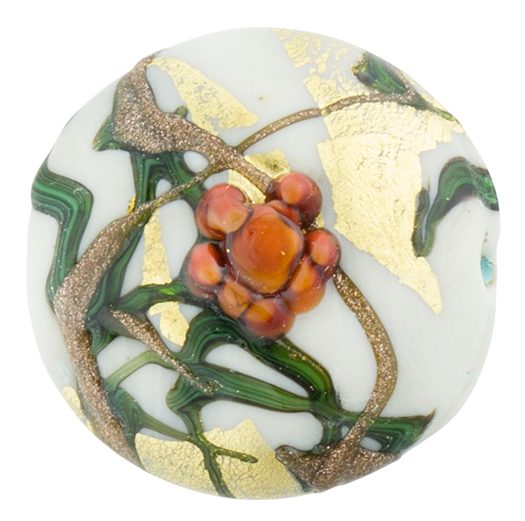 Murano Glass Bead Peony Lampwork Disc 23 White and Pink with 24K Gold Foil