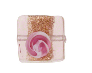 Pink Transparent Fiorato Square 11MM Venetian Glass Bead