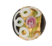 Load image into Gallery viewer, Wedding Cake Round 12MM Black, Murano Glass Bead